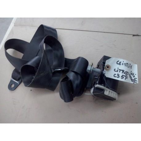 citroen c3 ceinture de securite avant gauche couleur gris foncee / noir  parfait etat de 2002 a 2009